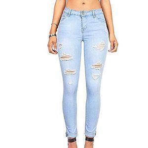 Women's Distressed Slim Fit Stretchy Skinny Jeans